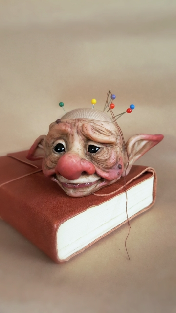 SOLD Troll Head Pincushion