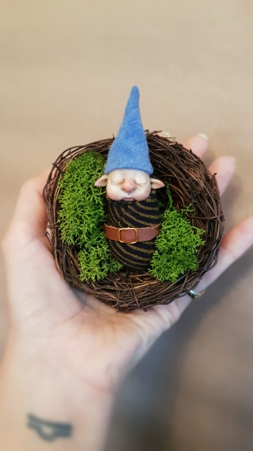 SOLD Two Gnome Babies + Moss Nest