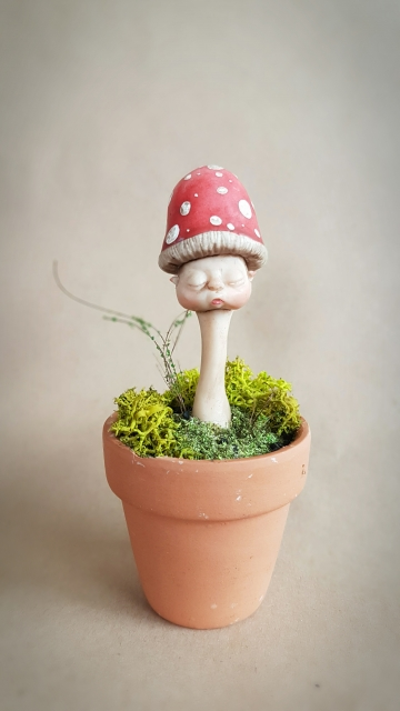 SOLD Potted Mushroom Fae Baby