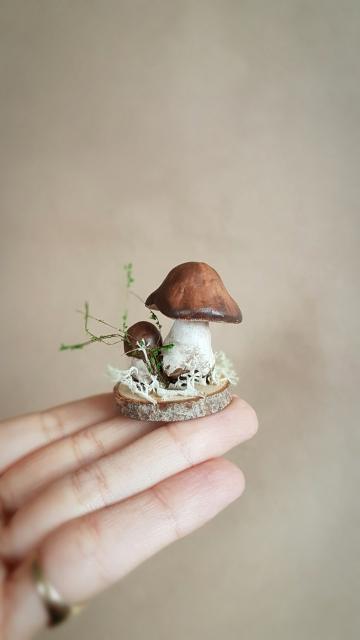 OOAK Small Mushroom Decorative Sculpture