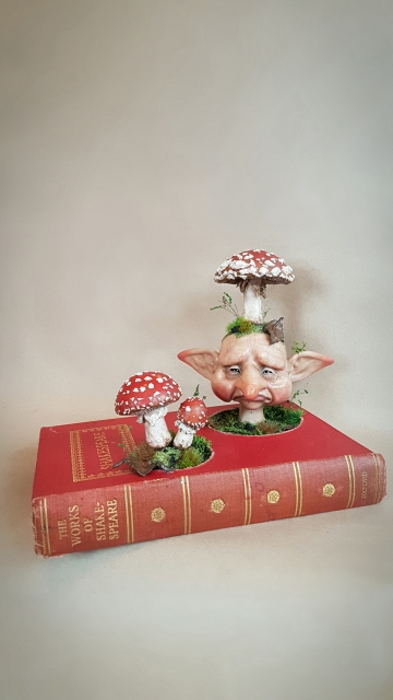 SOLD 'Mushroom Fae Book' - OOAK Book Sculpture