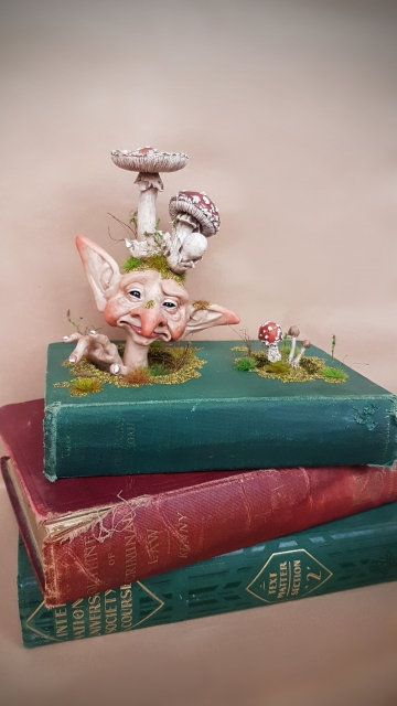 SOLD Cosclay Sculpted 'Mushroom Fae Book 2' - OOAK Book Sculpture