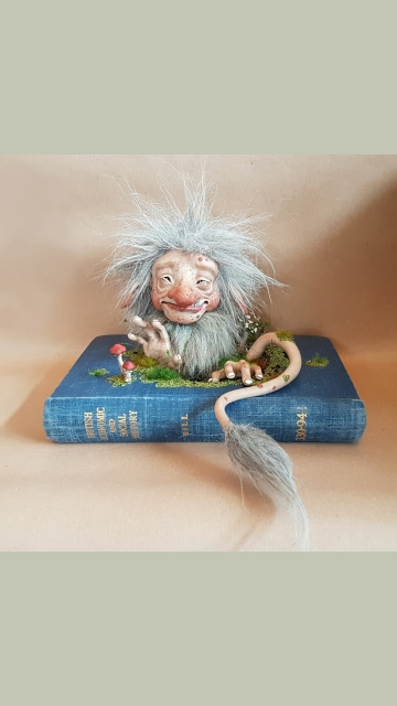 SOLD Cosclay Sculpted 'Troll Book' - OOAK Book Sculpture